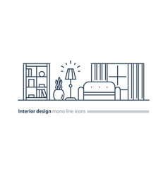 simple interior apartment design services line vector image