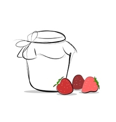 Strawberry jam colored sketch icon isolated vector image vector image