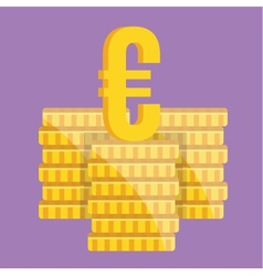 Coin Stacks and Euro Sign Icon vector image vector image
