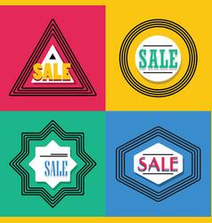 geometrical line shapes sale emblems icons set vector image vector image