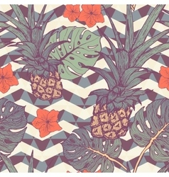 Seamless pattern with pineapple and tropical vector image vector image