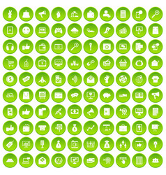 100 digital marketing icons set green circle vector