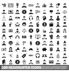 100 headhunter icons set simple style vector