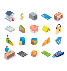 banking and financial icon set isometric vector image