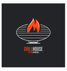 Barbecue grill logo bbq with fire sign on black vector