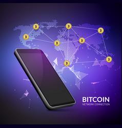 Bitcoin cryptocurrency blockchain world trade vector