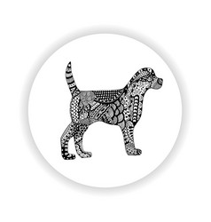 black and white dog with hand-drawn pattern vector image