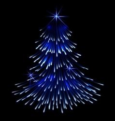 Blue spruce fir christmas trace fireworks vector image