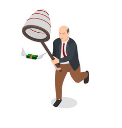 businessman holding net catch money with wings vector image