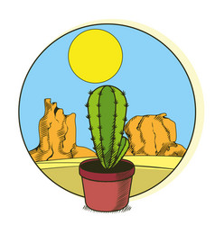 cactus in pot on desert vector image