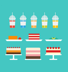 cakes served on plates and juices in plastic cups vector image
