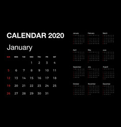 calendar 2020 isolated on black background with vector image