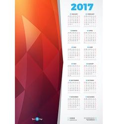 Calendar Design Template for 2017 Year Week starts vector