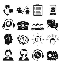 Call center service icons set vector