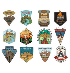 Camping adventure badges logos set vintage travel vector