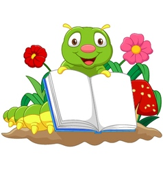 Cartoon cute caterpillar holding book vector image