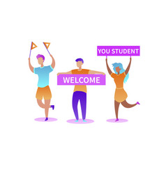 cartoon happy guys and girl meet new students vector image