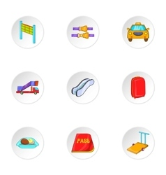 Check at airport icons set cartoon style vector image