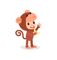 Cheerful toddler in brown monkey jumpsuit with vector