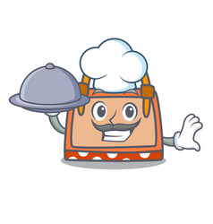 Chef with food hand bag mascot cartoon vector