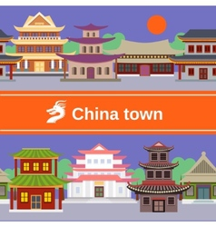 China town tileable border vector