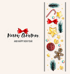 Christmas greeting postcard ornament vector
