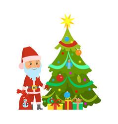 christmas winter holidays santa claus and tree vector image