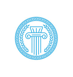 circle ancient greek coin with pillar column vector image