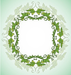 Circle eco frame with leafes vector