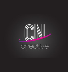 cn c n letter logo with lines design and purple vector image