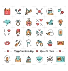 Colorful Valentine icons flat design line thin vector image