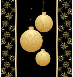 cute christmas card with gold balls vector image