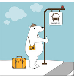 cute polar bear on vacation at bus stop in summer vector image