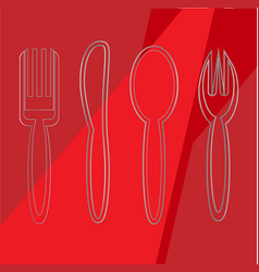 cutlery set spoons vector image