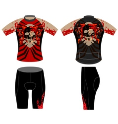 Cycling vest skull fire vector image