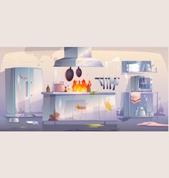 Damaged kitchen in restaurant interior with fire vector