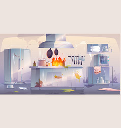 damaged kitchen in restaurant interior with fire vector image
