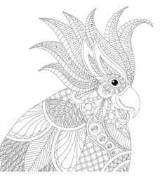 Exotic tropical zentangle cockatoo parrot for vector image