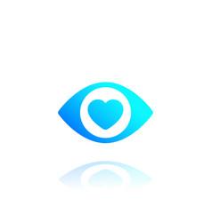 Eye with heart logo icon vector