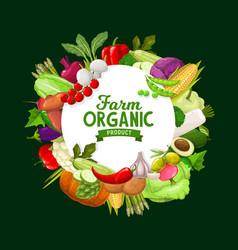 farm vegetables round frame organic veggies vector image