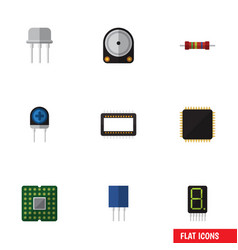 Flat icon device set of transducer mainframe vector