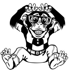 funny chimpanzee with glasses black and white vector image
