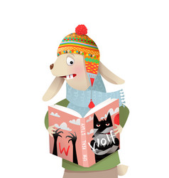 funny kids bear reading book in winter clothes vector image