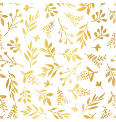 Gold foil florals seamless background vector