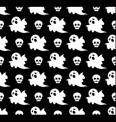 halloween ghost and skull pattern vector image