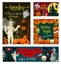 halloween trick treat party poster banner vector image