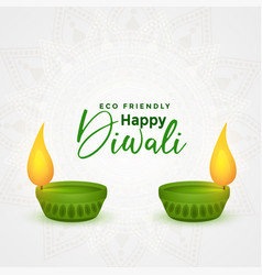 Happy diwali eco friendly festival diya concept vector