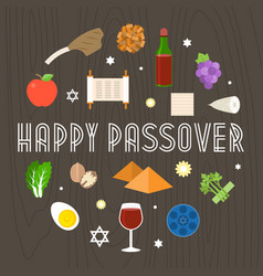 happy passover with icon and element vector image