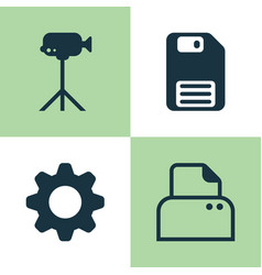 Hardware icons set collection of settings file vector