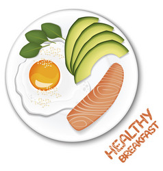 healthy reakfast on top view fried egg avocado vector image